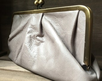 Pleated Leather Clutch