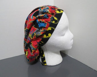 Batman on Red with Coordinating Batman Band Bouffant Surgical Scrub Cap