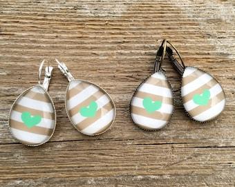 Large Teardrop Dangle Earrings, Tan And White Stripes, Tear Drop Dangles, Teal Heart  Earrings, Statement Earrings, Striped Earrings