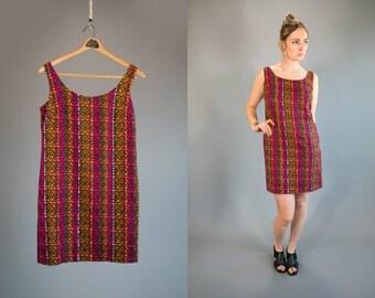 Vintage 1960's Neon Striped Floral Printed Dress Women's Mini Dress Hippie Bohemian Retro Women's Size Large