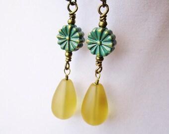 Opaque Yellow Glass Drop & Teal Patina Daisy Earrings