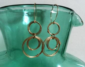 Gold Rings Earrings Open Circle Drop Earrings 14kt Gold Fill Hoop Dangles Wire Jewelry Geometric Earring Unique