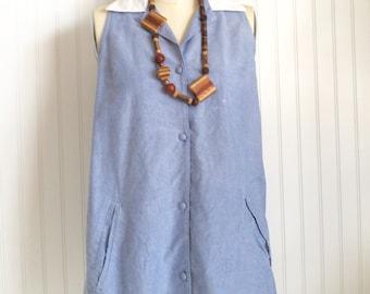 Vintage Denim Button Sundress