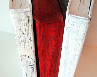 Distressed Books, Wedding, Boho Books,  Beach Wedding Books, Repurposed Books, Red Painted Books, Home Decor, Art Deco Books, Photo Prop