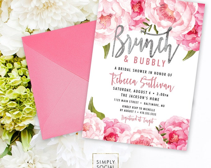 Brunch and Bubbly Bridal Shower Invitation - Pink Peony Ranunculus and Faux Silver Foil Watercolor Floral Boho Shower Invitation Printable