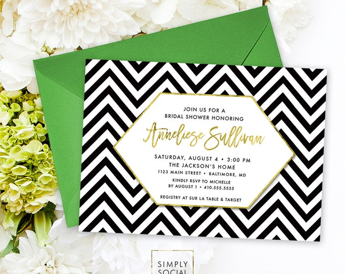 Chevron Bridal Shower Invitation - Faux Gold Foil Classy Black and White Chevron Modern Calligraphy Geometric Invite Printable