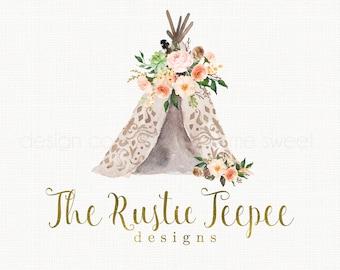 teepee logo design boho chic logo rustic logo design watercolor logo flower logo design photography logo watercolour logo gold logo design