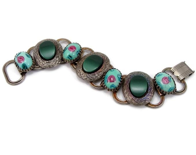 Vintage 1950s Pink Rose on Green Glass Bracelet