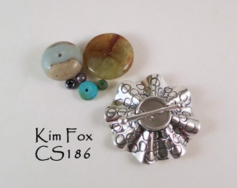 Round Silver Secure Toggle with 4 loops in Silver with Sea Urchin Pattern by Kim Fox