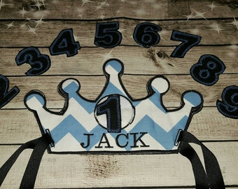 Custom Personalized & Reusable Birthday Crown ...(set of numbers for each birthday included)