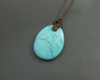Turquoise blue howlite stone necklace, antiqued rustic look copper jewelry