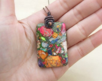 Boho stone necklace, rainbow jasper copper pendant, big multicolor stone jewelry, bohemian necklace