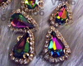 Teardrop Sew On Rhinestones VM Vitrail Medium 13mm x 18mm DIY 4 hole Gold Montee Faceted 8pc Button Rhinestone Beads sewing Jewelry Findings