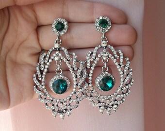 Green emerald earrings, emerald bridal earrings, emerald wedding earrings, green emerald wedding jewelry, green earrings, bridal chandelier