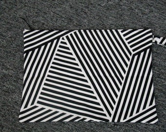 11 x 15 Black / White  Stripe Robert Kaufman Zippered  Wet Bag / With PUL Lining Made & Ready To Ship