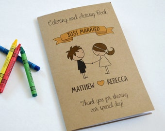 Wedding coloring book Kids wedding favor rustic wedding