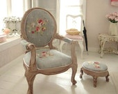 NEW Spring collection Marie Antoinette French Essence armchair & matching foot stool - 1/12 dolls house dollhouse miniature