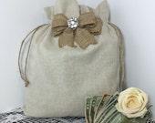 Money dance bag, Rustic wedding dance bag, Dollar dance bag, Wedding accessories, Burlap wedding, Flower girl, Rustic wedding, Money bag
