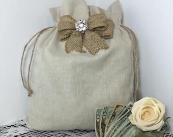 2 Rustic Wedding Dance Bag, 2 Dollar Dance Bag, Wedding, Burlap Wedding, Flower girl, Barn wedding, Wedding Bag, 2 Wedding Money Dance Bags