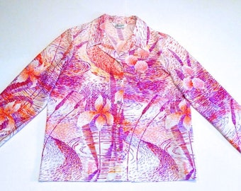 Floral Print Top 70s Vintage Water Lily Donovan Galvani of Dallas Shirt Monet Pink Flowers Psychedelic Print Size 20 Large Ladies Blouse