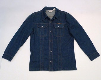 Denim Shirt Jacket Vintage Sedgefield Jeans Shirt Jacket Pearl Snap Rockabilly Jean Shirt 1970s Fitted Back Topstitching Size Large
