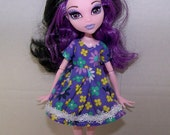 Handmade Monster High doll clothes - purple flowery dress with white trim