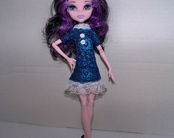 Handmade Monster High doll clothes -  dark blue flowery dress with white lace trim and white decorative buttons