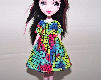 Handmade Monster High doll clothes - multi-color neon dress