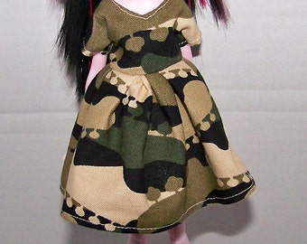 Handmade Monster High doll clothes - camouflage  dress