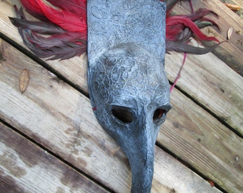 Creepy mask,  handmade, ooak, Halloween Costume Mask, Masquerade, red feathers, grey and red