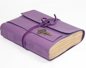 Light Purple Leather Journal - Tea Stained Paper - Travel Journal - Leather Journal - Elephant Charm - Bookmark - Wedding Journal -