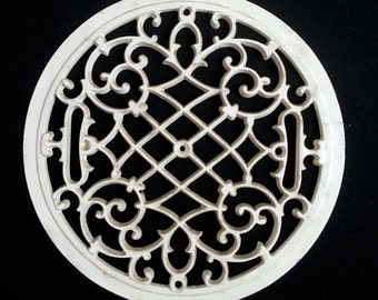 "Victorian Iron Metal Heating Duct Grate Vent Cover 12"" Round with Original Off White Paint"