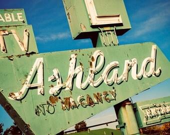 Ashland Motel Neon Sign Photo - Road Trip Art - Retro Home Decor - Fine Art