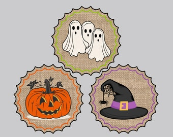 Set of 15 Halloween Tags Trick or Treat Tags Pumpkin Tags Ghost Tags Witches Hat Tag Treat Bag Tags