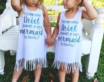 Mermaid fringe dress, Mermaid girls dress, mermaid dress, move over Ariel dress