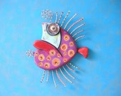Purple Grump Fish, Original Found Object Wall Sculpture, Wood Carving, Wall Decor, Fish Sculpture, by Fig Jam Studio