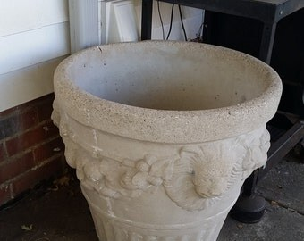 Vintage Cement Lion Planter Urn Pot ornate floral