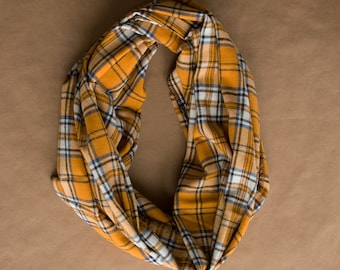CLEARANCE!!! Cotton Infinity Scarf - Yellow White Black Blue Plaid - Brushed woven cotton flannel - ready to ship