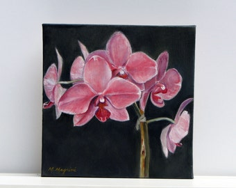 Pink Orchid Oil on Canvas