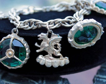 Fabulous Chunky Charm Bracelet, Emerald Glass Cabs, Griffin, Maltese Cross Charms