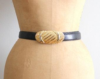 vintage 80s black snakeskin belt - ladies dress belt / Leather Shop - 80s snakeskin belt with gold buckle / vintage leather belt