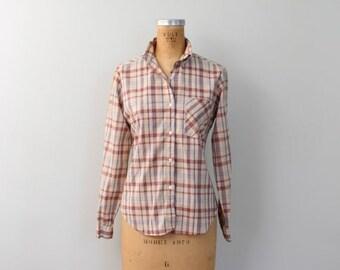 20% SALE vintage 70s soft cotton button down shirt - ladies plaid woven blouse / Ship n Shore - 1970s plaid blouse / dapper shirt - 80s plai