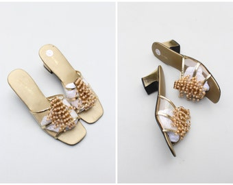 1960s beaded slip on sandals - metallic gold & acrylic sandals / pale apricot sandals - vintage ladies slides / 60s mod summer heels