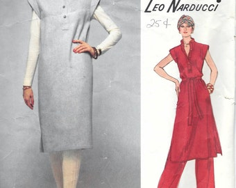 Vintage 70s Vogue 1578 LEO NARDUCCI Dress, Pants And Top Sewing Pattern Size 12 Bust 34