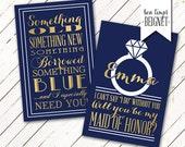 Bridesmaid Proposal - Will You be My Bridesmaid / Maid of Honor - Digital Download - Wedding Stationary - Printable Wedding - Custom Color