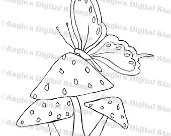 Butterfly On A Toadstool Digital Stamp Image