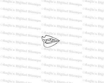 Vampire Mouth Digital Stamp Image