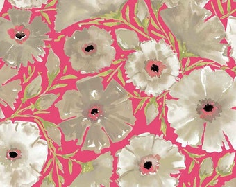 Dena Designs - THE PAINTED GARDEN - Azalea in Pink - 1 Yard - Cotton Fabric
