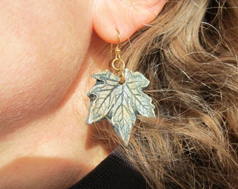 Earrings Maple Leaf in Gold Green and Silver