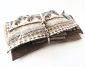 Felted Sweater Wool Small Scraps BROWN Fair Isle Felted Wool Pieces Fabric Scraps Craft Supplies Destash from WormeWoole